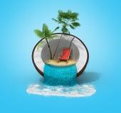 Den tropiska ön i det resande begreppet 3d för kokosnöten framför på gradi royaltyfri illustrationer