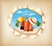 Den tropiska ön med gömma i handflatan, en strandstol och en resväska Arkivbild