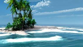 Den tropiska ön med kokosnöten gömma i handflatan Fotografering för Bildbyråer