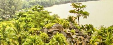 Den tropiska ön med träd och vaggar royaltyfri illustrationer