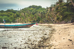 Den tropiska kusten med det traditionella asiatiska fartyget under lågvatten med gömma i handflatan dungen royaltyfria foton