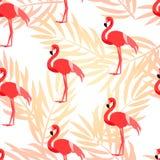 Den tropiska modellen med flamingo och gömma i handflatan filialer Prydnad för textil och inpackning vektor Royaltyfria Foton