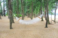 Den tropiska paradisstranden med hängmattan som hänger från, sörjer träd Royaltyfri Bild
