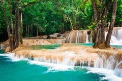 Den tropiska regnskogen skramlar med den Kuang Si vattenfallet laos Royaltyfri Bild