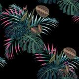 Den tropiska rosa färgen gömma i handflatan sidor och annan sömlös modell för exotiska växter Palmträdet lämnar garnering på svar vektor illustrationer