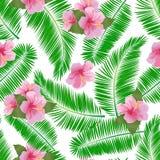 Den tropiska sömlösa modellen med palmblad, hibiskus blommar Royaltyfri Fotografi