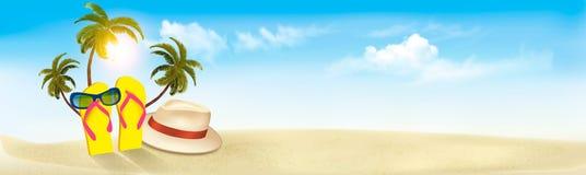 Den tropiska sjösidan med gömma i handflatan, en strandstol och en resväska vektor illustrationer