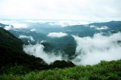 Den tropiska skogen för höga berg med moln som passerar i Indien Royaltyfria Bilder