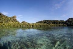 Den tropiska Stillahavs- ön och blir grund fjärden Royaltyfria Bilder