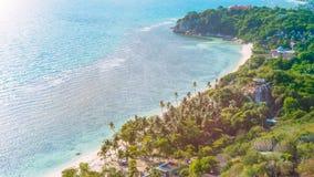 Den tropiska stranden med gömma i handflatan på en blåsig dag arkivfoto
