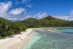 Den tropiska stranden med havet och gömma i handflatan taget från surret Strand och havsfoto Flyg- sikt för romantisk strand arkivfoto