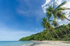 Den tropiska stranden med kokosnöten gömma i handflatan och gör perfekt himmel i söder av Thailand Royaltyfria Foton