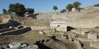 Den Troy arkeologilokalen i Turkiet som är forntida fördärvar Arkivfoto