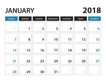 Den tryckbara kalendern för Januari 2018, vecka startar på söndag stock illustrationer