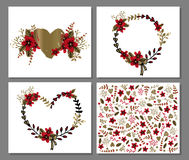 Den tryckbara romantiker och förälskelse card mallen med blommor och hjärtor Royaltyfria Bilder