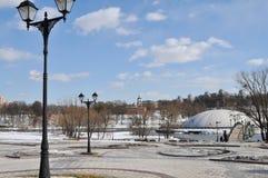 Den Tsaritsyno slotten och parkerar helheten allmän sikt Royaltyfri Foto