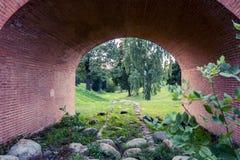 Den Tsaritsyno slotten och parkerar reserven i sen sommar moscow russia Arkivfoton