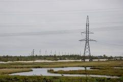 Den tunga grå färgen fördunklar i den kalla hösthimlen över gröna fält, träd, skogar, strömmar För storm elektriska poler Royaltyfri Fotografi