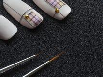 Den tunna borsten som ska målas på, spikar Design på spetsar arkivbilder