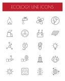Den tunna linjen energi, makt och miljösymbol ställde in vektor Royaltyfri Bild