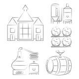 Den tunna linjen symboler för whisky - skissera whiskyprocesslogoer Arkivfoto