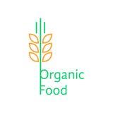 Den tunna linjen vete gå i ax som logo för organisk mat royaltyfri illustrationer