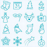 Den tunna linjen vinter och jultidsymboler ställde in Arkivbild