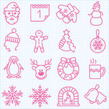 Den tunna linjen vinter och jultidsymboler ställde in Royaltyfri Fotografi