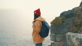 Den turist- flickan med ett ryggsäckanseende på kanten av en klippa och tycker om en härlig sikt stock video
