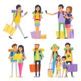 Den turist- gruppen av lyckligt folk går att semestra Par eller familj med ungar i resande också vektor för coreldrawillustration Arkivbilder