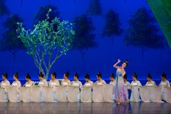 Den tvättade siden- dansen- agerar först: `en för prinsessa för ` för drama för mullbärsträdträdgård-epos dans den siden-, royaltyfria bilder