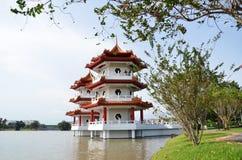 Den tvilling- pagoden på den kinesiska trädgården av Singapore Royaltyfri Bild