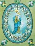 Den typiska katolska bilden av jungfruliga Mary av radbandet från Slovakien skrivev ut i Tyskland Royaltyfri Fotografi