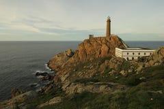 Den uddeVilan fyren, Galicia, Spanien Fotografering för Bildbyråer