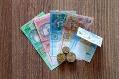 Den ukrainska valutahryvniaen Arkivfoton