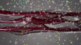 Den underbara julanimeringen med flyttning vinkar + snöflingor + stjärnor, 4096x2304 öglan 4K stock video
