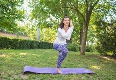 Den underbara och fantastiska kvinnan är praktiserande yoga på lilorna som är matta i gräset En charmig sportdam Royaltyfria Foton