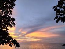 Den underbara solnedgången ser som ett fjärilsflyg på himlen fotografering för bildbyråer