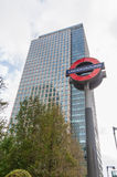 Den underjordiska London undertecknar in Canary Wharf Arkivbilder