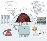 Den unga affärskvinnan lade hennes huvud ner på tabellen Telefoncirklar, mycket inboxposter, dåligt schema, ingen idé vad stock illustrationer