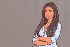 Den unga affärskvinnan vek händer poserar stil för konst för popet för ståenden för teckenet för tecknade filmen för leendet för  stock illustrationer
