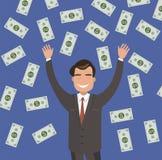 Den unga affärsmannen fångar stora pengar Royaltyfria Bilder