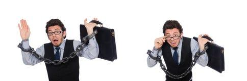 Den unga affärsmannen med manschetter som isoleras på vit fotografering för bildbyråer