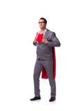 Den unga affärsmannen som bär den röda räkningen på vit Royaltyfri Bild