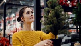 Den unga attraktiva brunettflickan på lagret väljer en konstgjord julgran, julgarnering stock video