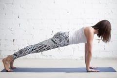 Den unga attraktiva kvinnan i planka poserar, den vita studion Royaltyfri Fotografi