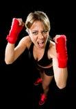 Den unga attraktiva näven för flickautbildningsboxning slogg in stridighetkvinnabegrepp Royaltyfri Fotografi