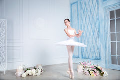 Den unga ballerina dansar i studion Fotografering för Bildbyråer