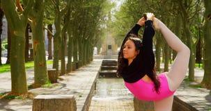 Den unga ballerina som sträcker hennes ben, medan dansa i, parkerar 4k lager videofilmer