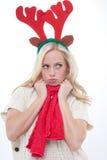 Den unga blonda kvinnan med horns trutar Royaltyfria Foton